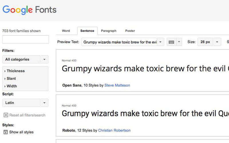 Google Fonts - Free Font Families