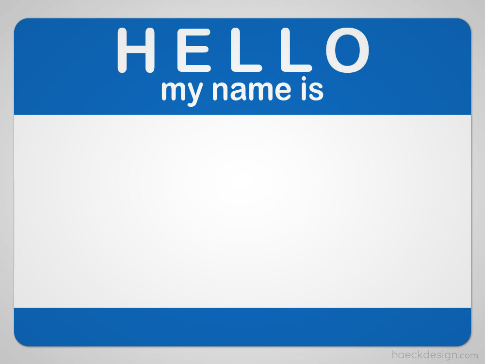 Hello My Name Is Nametag PSD