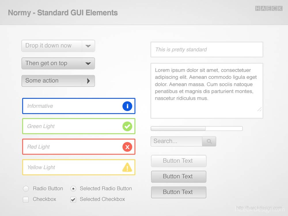 Normy UI PSD - GUI Elements