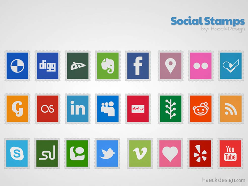 Social Stamps Icon Set & Stamp Template