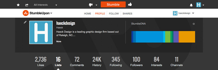 Profile Snapshot - StumbleUpon