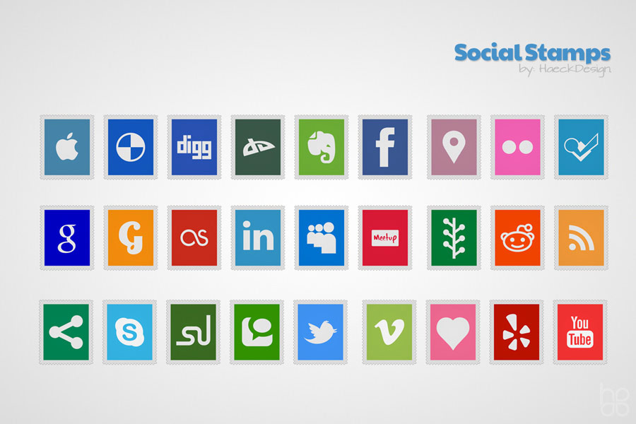 Social Stamps Icon Set | Graphic Design