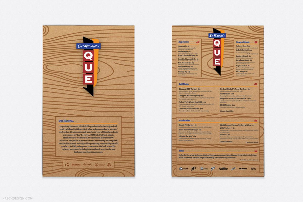 Ed Mitchells Que Menu - Durham, NC | Print Design