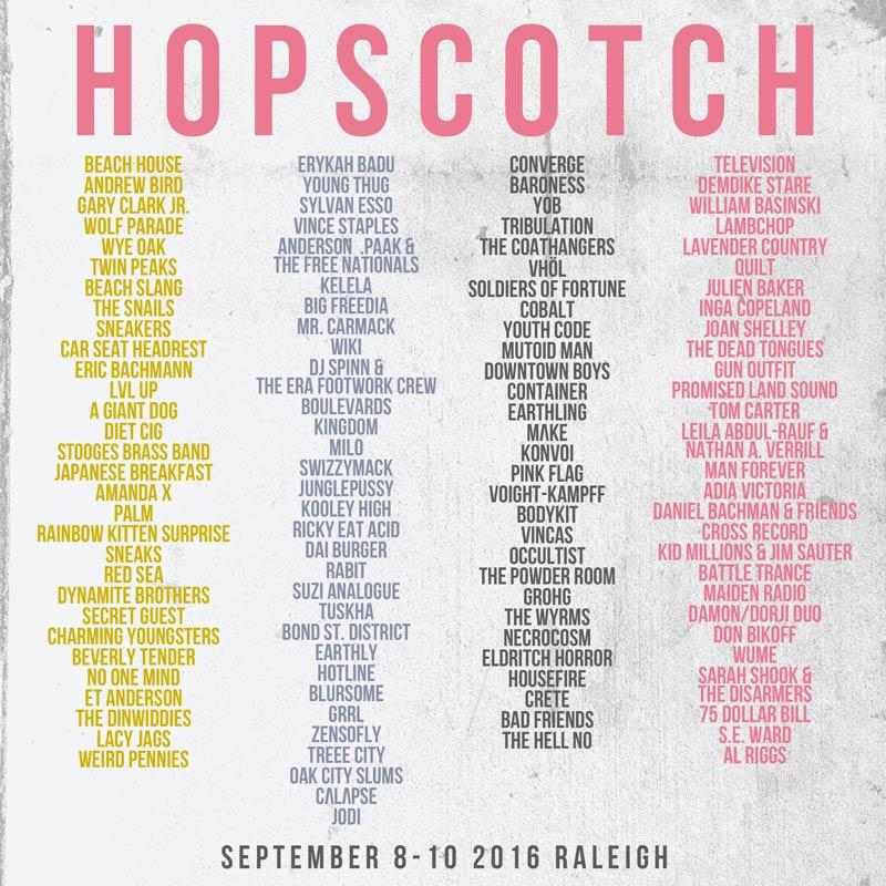 2016 Lineup Poster - Hopscotch Music Festival