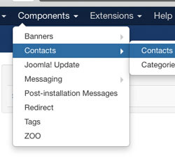 Contacts Menu - Joomla Author Info